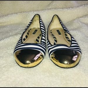 Blue and White Stripe Flat with Gold Metal Toe